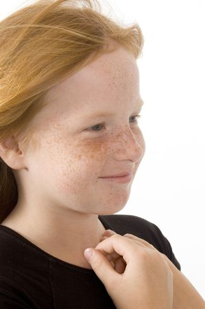 portrait of young smiling girl isolated on white background Stock Photo - 3520128