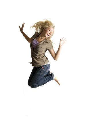 jumping teenage girl is having lots of fun