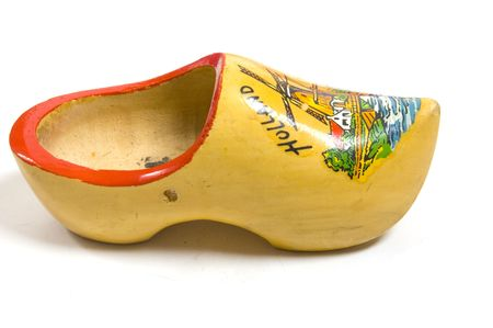 yellow wooden shoes from the netherlands photo