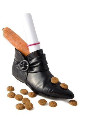 strooigoed: shoe with carrot and letter and dutch candies for an old dutch holiday called Sinterklaas