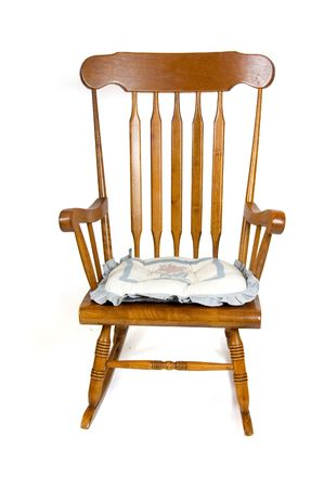 brown rocking chair isolated on white Stock Photo