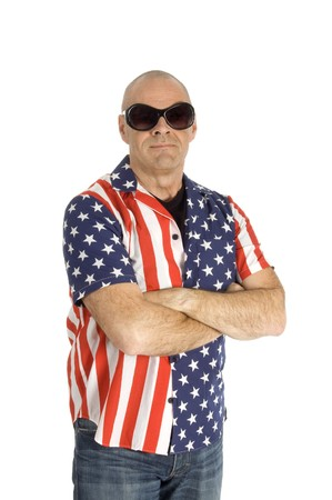 senior man is wearing a patriot shirt on white Stock Photo - 4523417