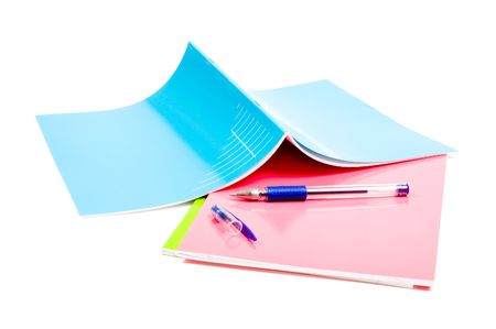 school notebooks with pencil on top at white background Stock Photo - 5260494