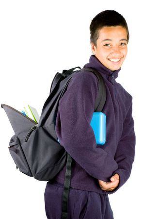 happy pakistan schoolboy is going to school isolated on white