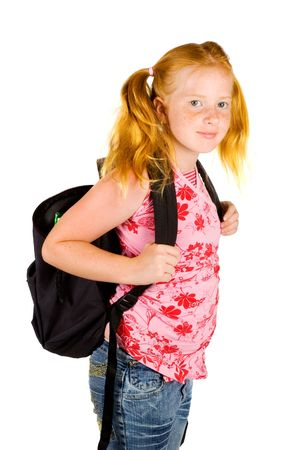happy schoolgirl ready to go to school isolated on white Stock Photo - 5246630