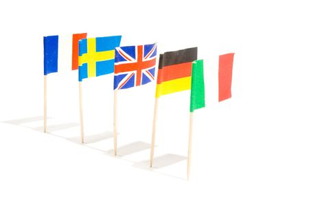 Various flags isolated on a white background photo