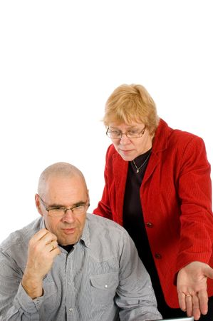 businesswoman is showing her assistence the mistakes on white Stock Photo - 5439784