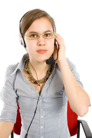 business customer support operator woman smiling - isolated photo