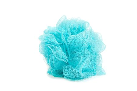 blue bath sponge or loufah isolated on white Stock Photo