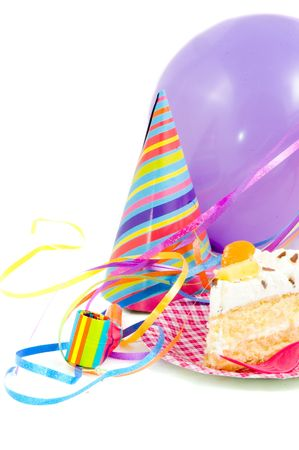 birthdaycake with balloon and streamers on white Stock Photo