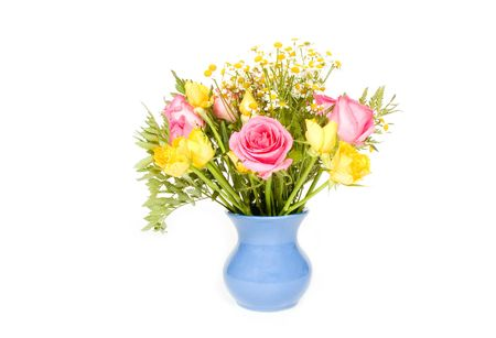 beautiful bouquet colorful flowers in vase isolated over white Stock Photo