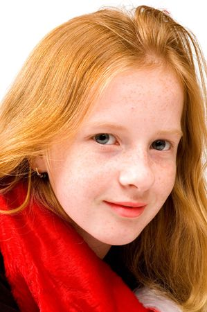 red head girl: portrait of red head girl with red shawl on white
