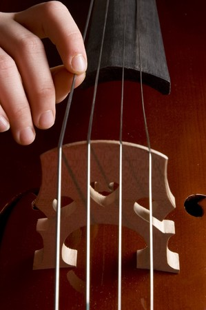 close up of a childhand is playing the cello photo