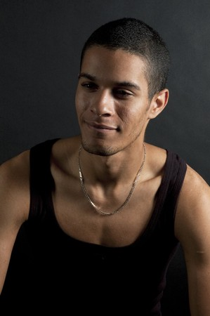 portrait of native american man on black Stock Photo - 8139894
