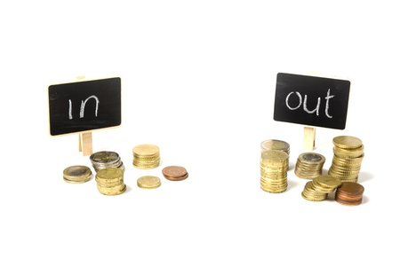 view from income and outcome of the finances isolated on white Stock Photo