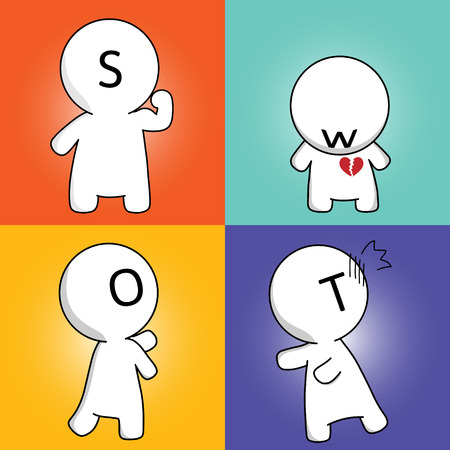 Mr Simple in SWOT Analysis - user can change man s color and remove alphabet on the face Illustration