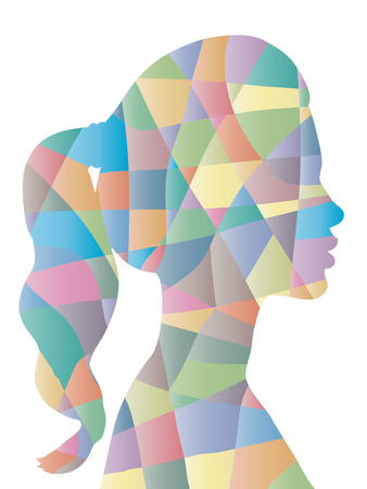 illogical: Abstract color polygon woman shape