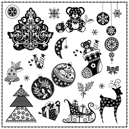 Black and white Christmas se Vector