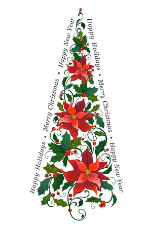 poinsettia: Decorative Christmas tree made of poinsettia Illustration