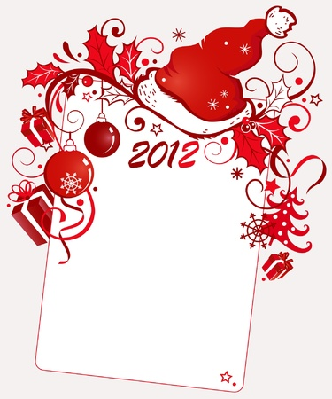 newyear: New-Year background with a cap of Santa