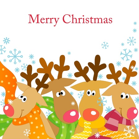 Christmas background with four  reindeers  in scarfs