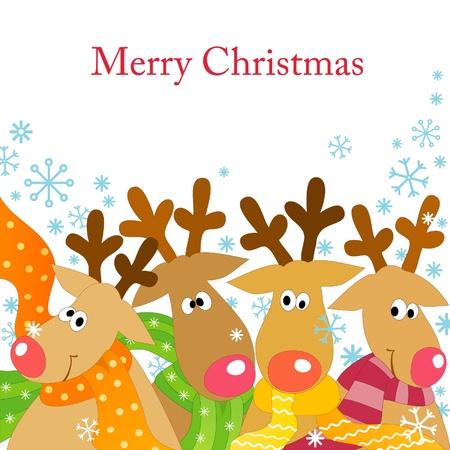 renos de navidad: De fondo de Navidad con cuatro renos en bufandas