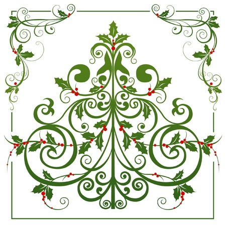 natal: Christmas tree and decorative corners with holly