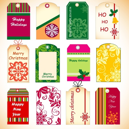 decembe: Christmas set of tags