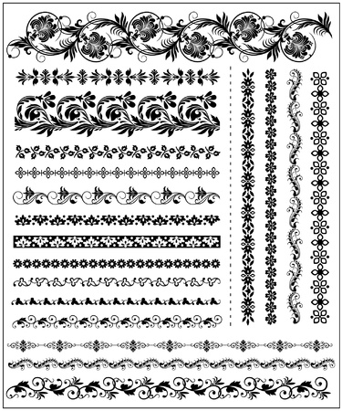 Vector Set of floral decorative borders Ilustração