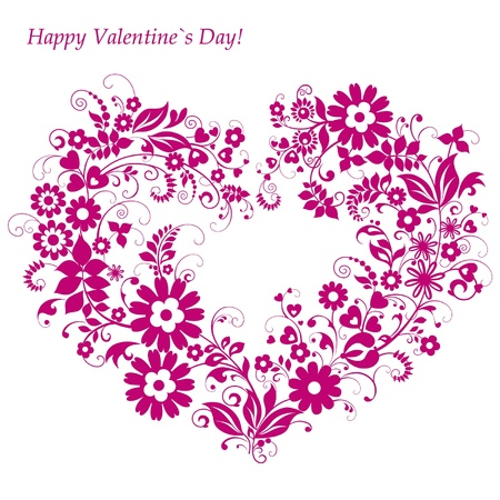 Valentine`s Day Card with floral heart