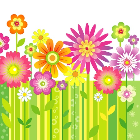 flower clip art: Background Spring Flowers
