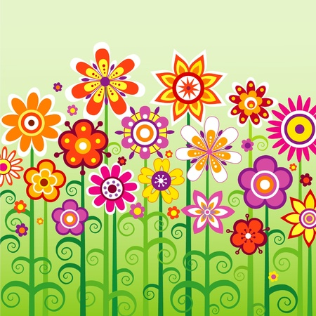 bright flowers on a green background Illustration