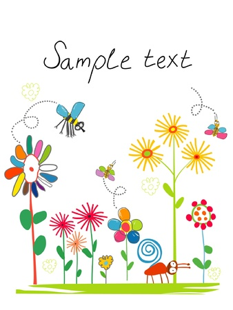 Card with children's drawings Vector