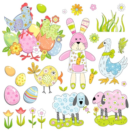 Collection of Easter elements Vector