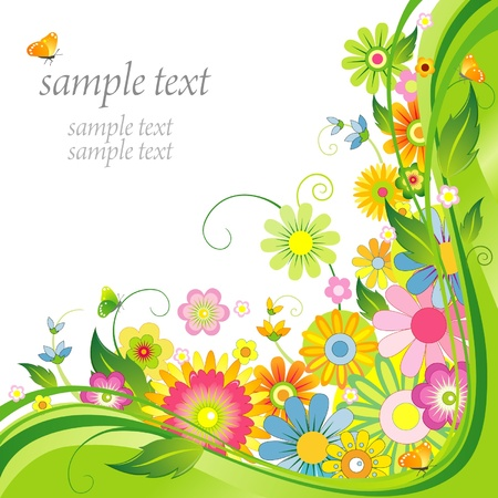 Flower background with butterfly Illustration