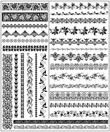 Set of decorative floral borders