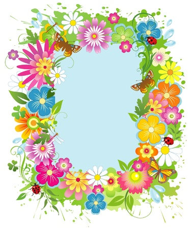 butterfly border: Summer flower frame  Illustration