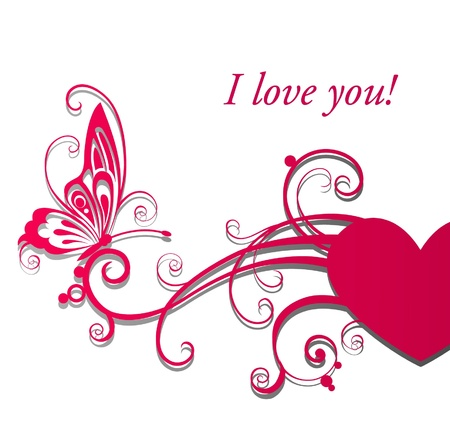 Valentine`s day card with heart and butterfly