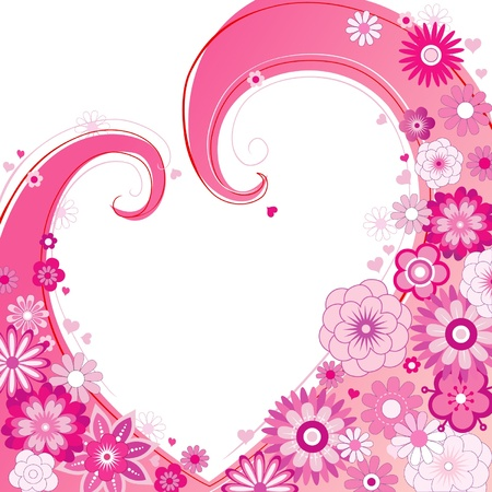 Valentines background with pink flowers