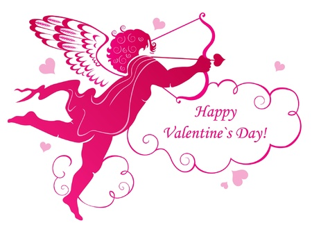 Valentines Day card with angel Vector