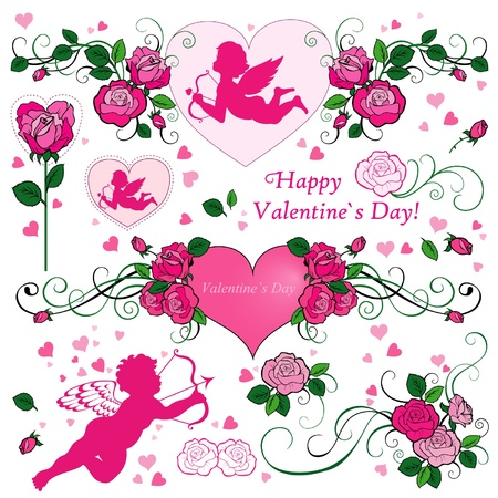 Valentines Day set with roses Vector