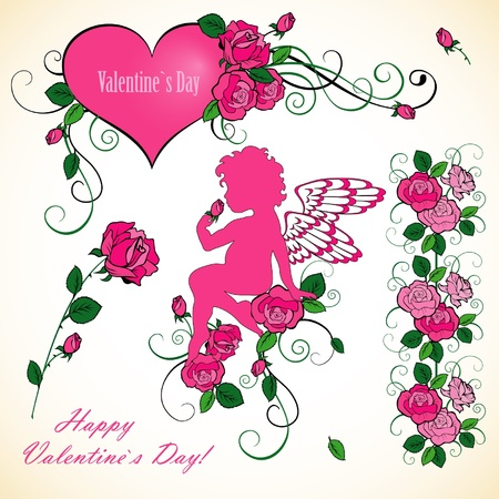 Valentines Day set with angel and roses Vector