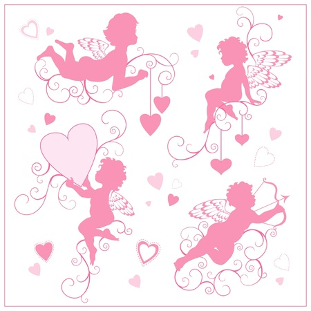 elements for valentine`s day with angels