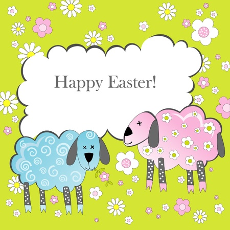 Easter background with lambs Vector