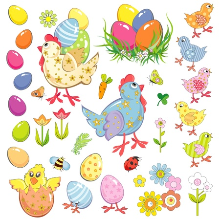 Easter set of vector illustrations Stock Vector - 12489908