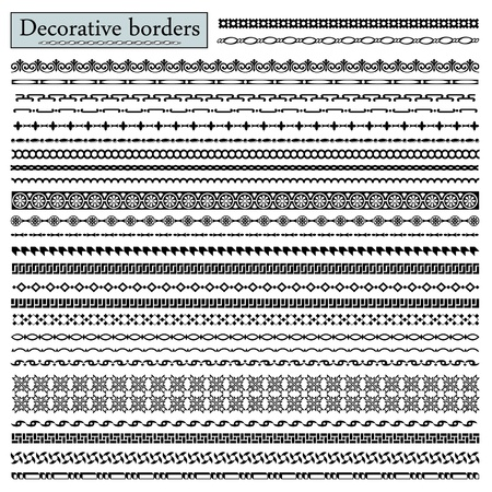 Set of calligraphic decorative borders
