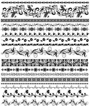 set of floral decorative elements