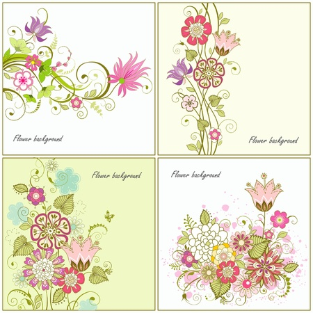 Set of flower backgrounds