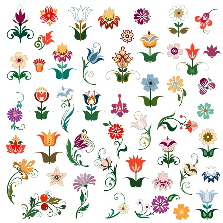 set of colored flowers Illustration