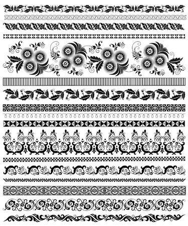 set of decorative floral borders Illustration